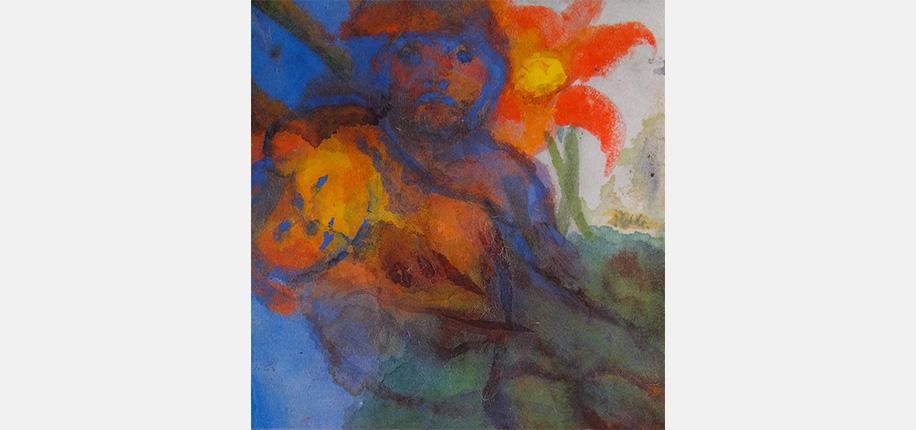 """<p>Emil Nolde, Liebespaar unter roter Blüte, 18,2 x 17,4 cm</p>  <p>Emil Nolde ist einer der bedeutendsten Maler des deutschen Expressionismus und das Aquarell nimmt während aller seiner Schaffensperioden einen wichtigen Stellenwert ein. Besonders hier befreit er die Farbe vom formalen Korsett und experimentiert mit unterschiedlichen Techniken, u.a. mit leuchtenden Farbflecken, die er nass in nass auf stark saugendes Japanpapier setzt, so dass auch auf der Rückseite interessante Effekte erscheinen. Nolde selbst warnt aber: """"Technik ist nur Technik, sie soll nicht überschätzt werden!""""</p>  <p>""""Liebespaar unter roter Blüte"""" gehört zu einer Serie kleinformatiger Aquarelle, die in der Zeit zwischen 1938 und 1945 entstehen. Emil Nolde nennt sie """"Ungemalte Bilder"""", die er trotz des vom nationalsozialistischen Regime verhängten """"Berufsverbots"""" heimlich in seinem Landhaus Seebüll nahe der dänischen Grenze malt. Weil er gezwungen ist, sparsam mit Material umzugehen, überarbeitet er wie bei dem hier gezeigten Beispiel oft ältere auf Japanpapier gemalte Blumenaquarelle und verwendet zusätzlich Gouachefarben und Tusche; es entstehen vielschichtige Bilder (auch im inhaltlichen Sinne), die in ihrer glühenden Leuchtkraft an Kirchenfenster erinnern. Walter Koschatzky zählt die """"Ungemalte Bilder"""" zu einem """"Haupt-Oeuvre der Weltkunst im Aquarell"""".</p>  <p>Literaturauswahl: Walter Koschatzky, Die Kunst des Aquarells, 1989 Bildzyklen - Zeugnisse verfemter Kunst in Deutschland 1933-1945, Katalog der Staatsgalerie Stuttgart 1987</p>"""