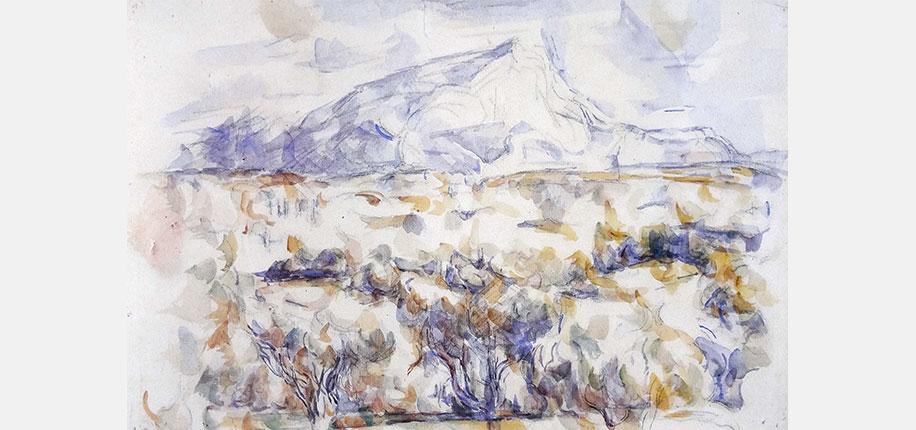 """Paul Cézanne, Montagne Sainte-Victoire, 1905, 36 x 54,5 cm<br> <br> Cézanne gilt als einer der bedeutendsten Wegbereiter der von perspektivischer Illusion befreiten Kunst zu Beginn des 20. Jahrhunderts. Inspirationsquelle ist für ihn die Natur wie übrigens für viele Künstlerfreunde seiner Zeit. Deshalb malt er meist draußen in der Landschaft um Aix-en-Provence. Noch mit 67 Jahren aquarelliert er vorwiegend """"en plein air"""". Tragischerweise gerät ihm diese Leidenschaft zum Verhängnis. Er stirbt 1906 an einer Lungenentzündung, weil er beim Malen in ein Unwetter geraten war. Obwohl er in der Natur arbeitet, ist sein künstlerisches Ziel jedoch nicht, ein Abbild der Natur zu schaffen. In einem Gespräch mit dem Kunstkritiker Joachim Gasquet stellt er fest: """"L art est une harmonie parallèle à la nature"""" (Die Kunst ist eine Harmonie parallel zur Natur). Er möchte die Naturwirklichkeit in eine autonome Bildwirklichkeit übertragen.<br> <br> """"Montagne-Sainte Victoire"""" ist ein Lieblingsmotiv von Cézanne. Auf einem Gerüst von Bleistiftlinien setzt er von der Pinselform abgeleitete Farbflecken. Der freie unbemalte Bildgrund gewinnt eine wichtige Funktion. Er ist Wiese, Berg, Himmel und Licht zugleich. Mit der Reduktion auf wesentliche Bildelemente hat Cézanne eine Entwicklung zur Abstraktion in der Kunst eingeleitet. Auch heute noch sind Vereinfachen und Weglassen wichtige Lernschritte in vielen Aquarellkursen.<br> <br> Literaturauswahl:<br> Paul Cézanne: Über die Kunst, Gespräche mit Gasquet. Hrsg. Walter Hess, 1957, 1980 Götz Adriani: Cézanne Aquarelle, 1982<br> Götz Adriani: Paul Cézanne – Leben und Werk, 2006"""