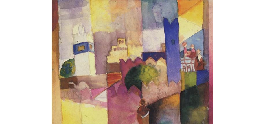 """<p>August Macke, Kairouan III, 1914, 29, 0 x 20, 7 cm</p> <p>August Macke gilt als einer der bedeutendsten Künstler des deutschen Expressionismus. In seinen Arbeiten lässt er eine farbenfrohe und heitere Welt entstehen. Wenige Monate vor seinem Tod gelingen ihm auf und nach der legendären Tunisreise, die er zusammen mit Paul Klee und Louis Moilliet unternommen hat, im Jahr 1914 zahlreiche Aquarelle, die häufig als Höhepunkt seines Schaffens angesehen werden.</p>   <p>Um an Gepäck zu sparen, hatte Macke auf der Reise nur Aquarellutensilien bei sich. Nun entdeckte er die in der Aquarell-Technik liegende Leichtigkeit und Spontaneität. Es zeigte sich, dass das Aquarell durch seine Transparenz die adäquate Möglichkeit war, die Klarheit und Helligkeit der Farben und Formen Tunesiens wiederzugeben. Das Aquarell """"Kairouan III"""" ist dafür ein Beispiel. Es ist durch ein frei rhythmisiertes Gebilde einzelner aufeinander abgestimmter Farbfelder vertikal strukturiert und mit Motivelementen aus Hammamet und Kairouan angereichert. Auf Perspektive wird weitgehend verzichtet und die abbildende Funktion wird zugunsten einer freien, vereinfachenden, abstrahierenden Auseinandersetzung mit Farbe und Form vernachlässigt. So hat Macke –wie auch Klee – auf der Tunisreise zur Umgestaltung der Wirklichkeit gefunden, getreu seiner Aussage: """"Die Natur muss in uns neu entstehen.""""</p>  Literaturauswahl: Ursula Heiderich: August Macke,  Aquarelle Werkverzeichnis; Hatje, 1997,<br>Ernst-Gerhard Güse: Die Tunisreise, Klee - Macke - Moilliet; Hatje, 1982, <br> Magdalena M. Moeller: August Macke, Die Tunisreise; Prestel, 1989 <br>Katalog Die Tunisreise 1914,Paul Klee, August Macke, Louis Moilliet, Hrsg. Zentrum Paul Klee, Bern, Texte von Michael Baumgärtner u.a., Hatje Cantz Verlag, 2014</p>"""