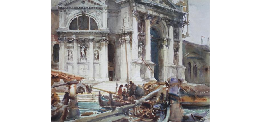 """<p>John Singer Sargent, Santa Maria della Salute, 1904, 46 x 58 cm</p> <p>John Singer Sargent (1856 – 1925) gehört mit seinen Aquarellen zu den herausragenden Meistern dieser Gattung. Dienten seine frühen Aquarell-Skizzen noch eher als Studien für Ölgemälde und Porträt-Aufträge, so war das Aquarell später für ihn das bevorzugte Medium. Auf vielen Reisen gibt er in der Art der impressionistischen Plein-Air-Malerei seiner unmittelbaren Erfahrung spontanen Ausdruck. Fast alles, was ihm begegnet, interessiert ihn als Maler und wird für ihn zum Motiv. In Venedig, wo er auch eine Zeitlang wohnte, sind viele seiner Aquarelle entstanden. Venedig bedeutete für ihn die Auflösung der Grenze zwischen Traum und Wirklichkeit, Vergangenheit und Gegenwart, Kunst und Leben. Das Beieinander von Wasser, Licht und malerischer Architektur zogen ihn magisch an.  Wie alle seine Aquarelle besticht auch das Bild """"Santa Maria della Salute"""" durch die spontane Pinselarbeit, eine reduzierte Palette, wunderbare Farbharmonien, perfekt eingesetzte Tonwerte, so dass der Eindruck von Transparenz, Unmittelbarkeit und Flüchtigkeit entsteht. Ohne alles genau abzubilden, versteht er es, häufig mit minimalen Andeutungen durch Pinselstriche und Farbtupfen, eine vollständig überzeugende Realität zu produzieren.  Literaturauswahl: Carl Little, The Watercolors of John Singer Sargent, Chameleon Books, 1998;         M. Schwander (Hrsg.), Venedig - Von Canaletto und Turner bis Monet, Hatje/Cantz, 2008 </p>"""